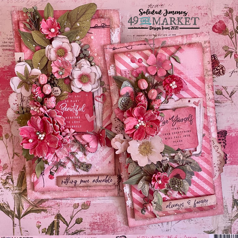 Duo of pink cards by Soledad Jiménez