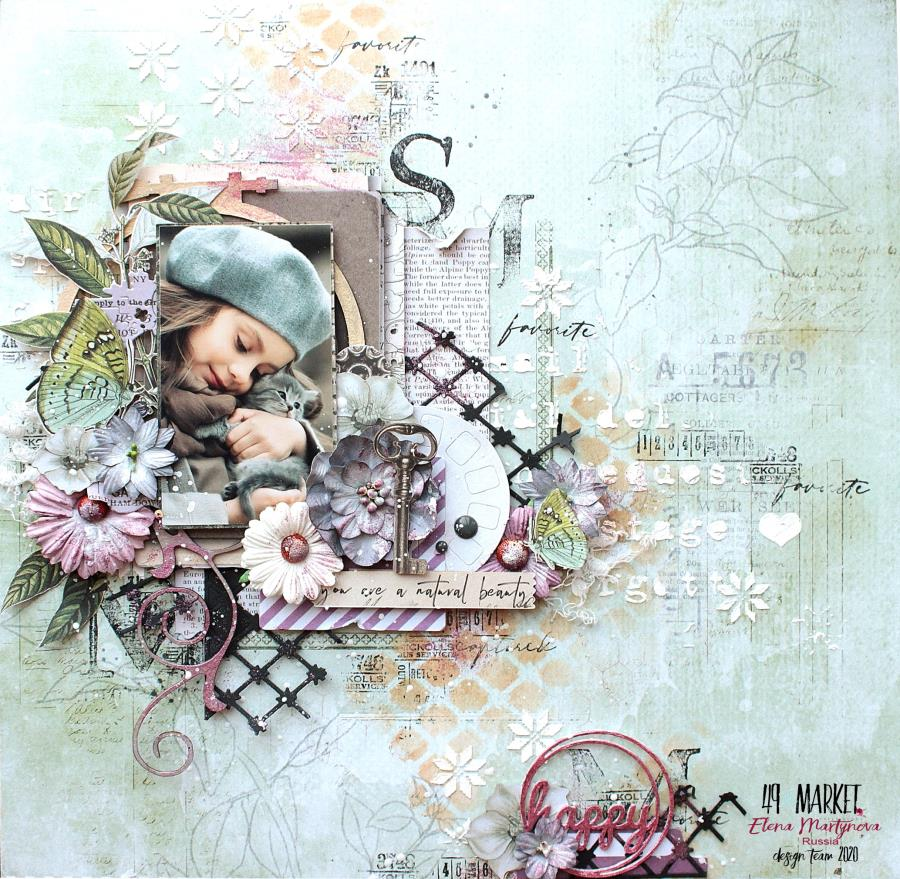 Happy - Mixed media layout by Elena Martynova